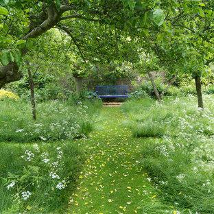 Inspiration pour un jardin arrière traditionnel de taille moyenne et au printemps avec une entrée ou une allée de jardin, du gravier et une exposition ombragée.