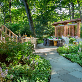 Inspiration for a traditional shade backyard stone garden path in Chicago for summer.