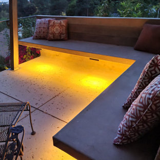 This is an example of a mid-sized mid-century modern drought-tolerant, privacy and partial sun backyard concrete paver and metal fence landscaping in Los Angeles for winter.