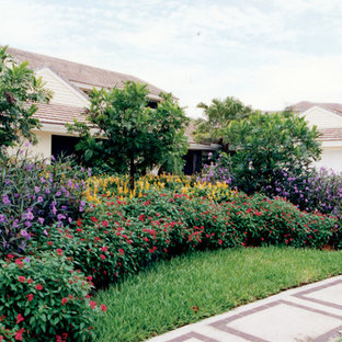 Design ideas for a transitional partial sun front yard landscaping in Miami.