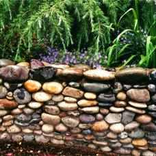 Landscape by beautiful bones and purple stones