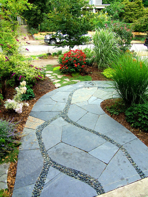 Best pebble walkway design ideas remodel pictures houzz for Landscaping ideas stone path