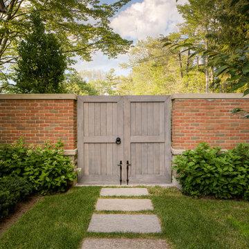 Brick Accent Wall and Cedar Gate
