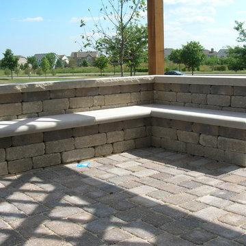 Brick Patio, Seat Wall and Pergola