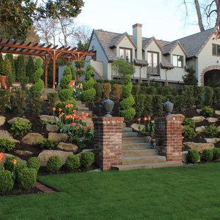 Ispirazione per un giardino tradizionale in primavera con un pendio, una collina o una riva e sassi e rocce