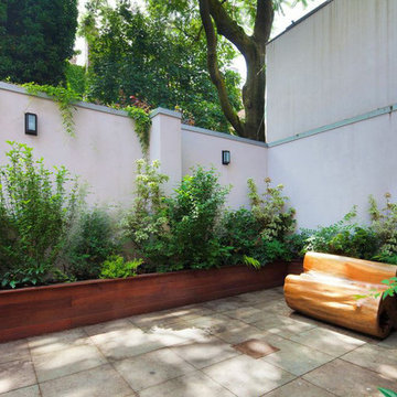 Brooklyn, NYC Backyard: Bluestone Patio, Bench, Planter Boxes, Shade Garden
