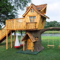 The 4 Kids, Inc. - Bungalow-Style Tree House - Tree houses continue to capture the hearts and imaginations of children of all ages, and this spectacular Bungalow style tree house is no exception.