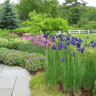 Idéer för vintage trädgårdar i full sol, med en trädgårdsgång och marksten i betong