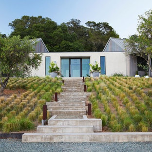 This is an example of a large farmhouse backyard concrete paver garden path in San Francisco.