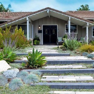 Design ideas for a mid-sized contemporary drought-tolerant and full sun front yard concrete paver landscaping in San Luis Obispo.