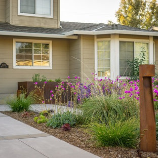 Design ideas for a mid-sized modern drought-tolerant front yard concrete paver landscaping in San Francisco.