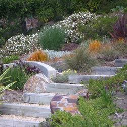 Mediterranean garden entry path specialty slope hillside for Demaria landtech