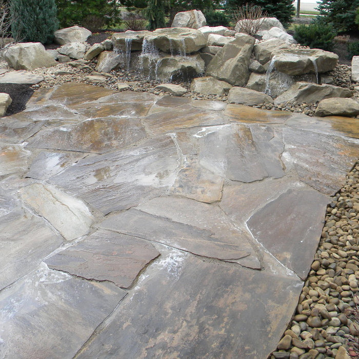 Pondless Carved Stone Water Feature and Stone Patio
