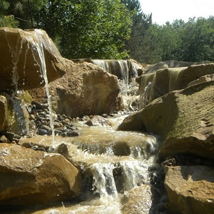 Carved Stones and Stream Water Feature