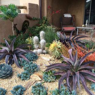 Aménagement d'un jardin sud-ouest américain de taille moyenne et l'été avec une exposition ensoleillée et du gravier.