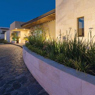 Foto de jardín minimalista, en patio delantero, con jardín de macetas y exposición total al sol
