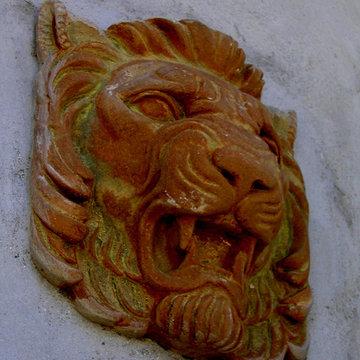 Cast Concrete Lion Head architectural detail in plaster