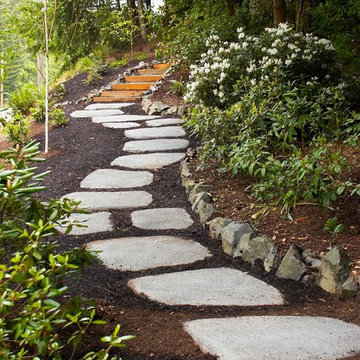 Cast concrete path stone