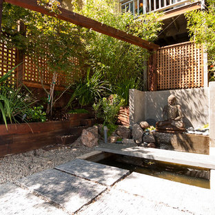 This is an example of a mid-sized asian courtyard partial sun garden in San Francisco with a water feature and gravel.