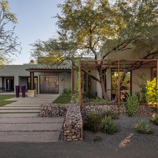 Design ideas for a contemporary partial sun front yard gravel landscaping in Phoenix.