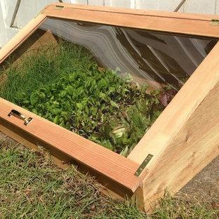 Idéer för att renovera en mellanstor rustik trädgård i full sol, med utekrukor