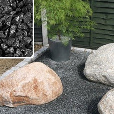 Modern Landscape Charcoal Granite with White Boulders