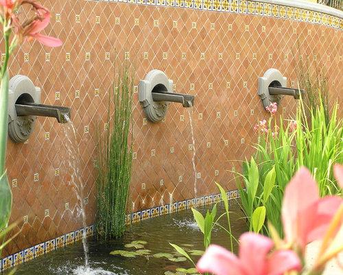 Design Ideas For A Mediterranean Water Fountain Landscape In Santa Barbara.