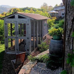 Inredning av en lantlig liten bakgård i full sol på våren, med en köksträdgård och marktäckning