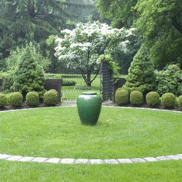 Classic Urn in a courtyard garden