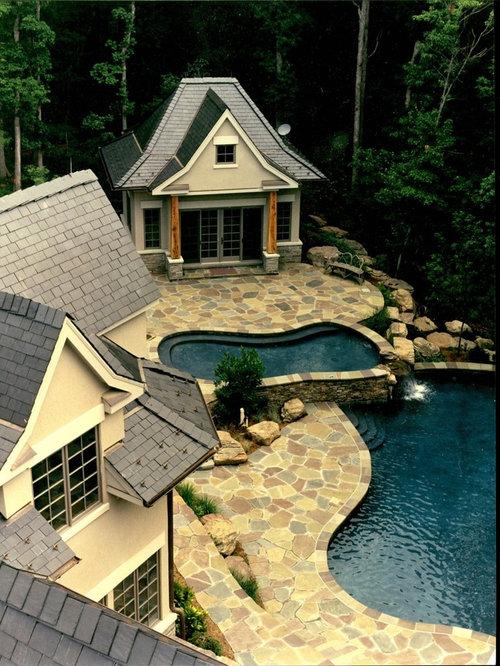 Irregular stone patio houzz for Plusen landscape architects