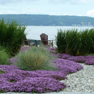Small Nautical Back Xeriscape Full Sun Garden For Summer In Seattle With  Gravel.