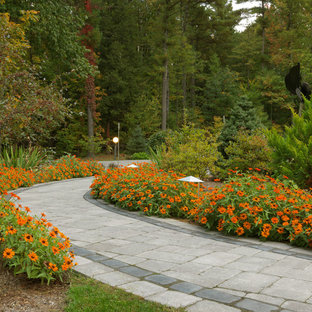 Inspiration for a transitional full sun front yard concrete paver garden path in Burlington.