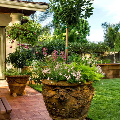 Inspiration for a mid-sized mediterranean full sun backyard brick landscaping in San Francisco for summer.