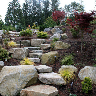 Design ideas for a contemporary full sun front yard stone landscaping in Seattle.