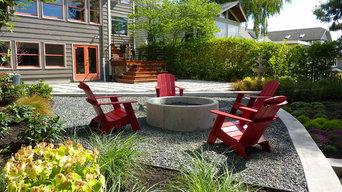 Concrete Firepit, Gravel Patio, Plum Tree Backyard