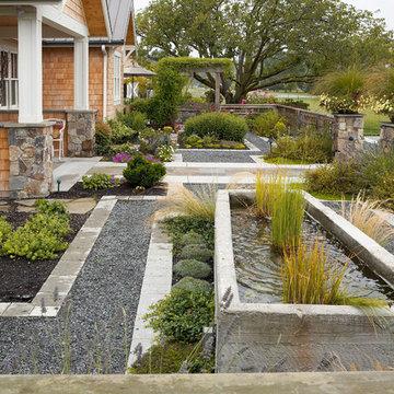 Concrete water trough fountain.
