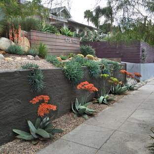 Design ideas for a small contemporary drought-tolerant, full sun and desert front yard landscaping in Los Angeles.