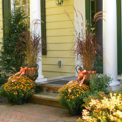 Inspiration for a mid-sized traditional full sun front yard formal garden in New York for fall.