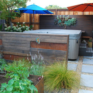 Photo of a small contemporary drought-tolerant and full sun backyard concrete paver landscaping in San Francisco.