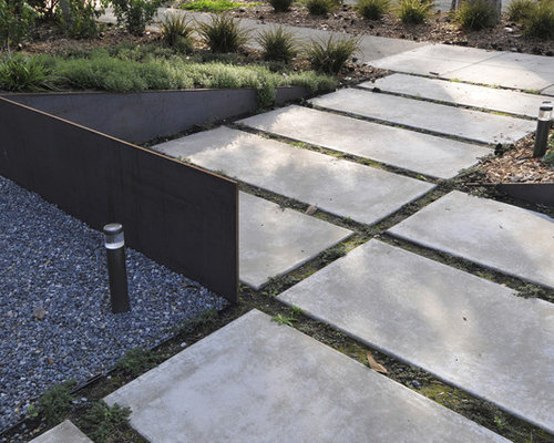 Inspiration For A Contemporary Front Yard Landscape In San Francisco With  Concrete Pavers.