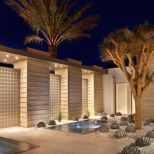 Kleiner Moderner Garten im Sommer mit direkter Sonneneinstrahlung und Wüstengarten in Los Angeles