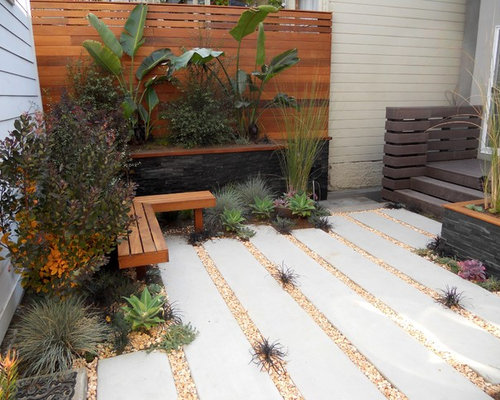 Courtyard Design Ideas 3 tiny courtyard makeovers gardendrum Design Ideas For A Small Contemporary Backyard Drought Tolerant Landscape In San Francisco With Concrete