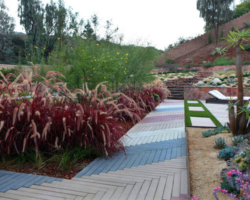 Photo Of A Large Contemporary Full Sun Backyard Landscaping In San Diego  With Decking.
