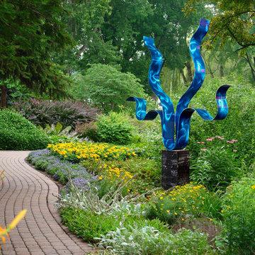 Contemporary Metal Outdoor Garden Sculpture - Reaching Out Blue by Jon Allen
