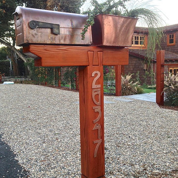 copper and redwood mailbox