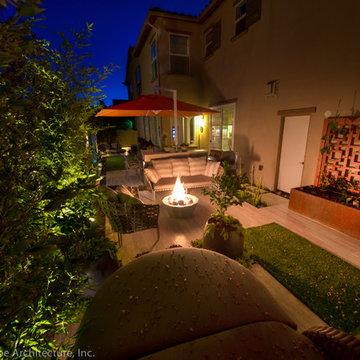 Corten Steel Raised Vegetable Garden + Red Trellis