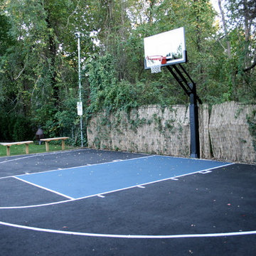 Craig W's Pro Dunk Gold Basketball System on a 40x25 in Bellport, NY