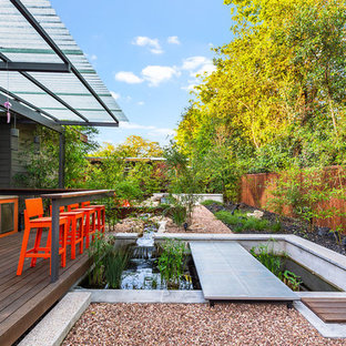 Design ideas for a contemporary side yard landscaping in Austin with decking.