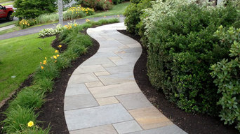 Curving Bluestone Walkway with Radius Granite Steps