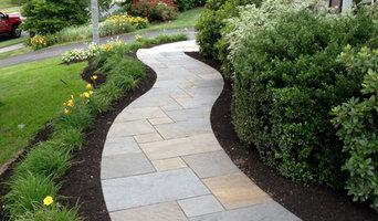 Curving Bluestone Walkway with Radius Granite Steps